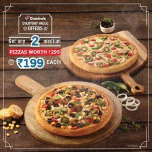 Top Deal - Domino's Get 2 Medium Pizzas savedealsindia